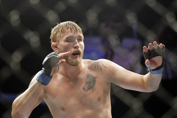 Dec 8, 2012, Seattle, WA, USA; Alexander Gustafsson fights Mauricio Rua (not pictured) during their light heavyweight bout at MMA on FOX 5 at Key Arena. Mandatory Credit: Joe Nicholson-USA TODAY Sports