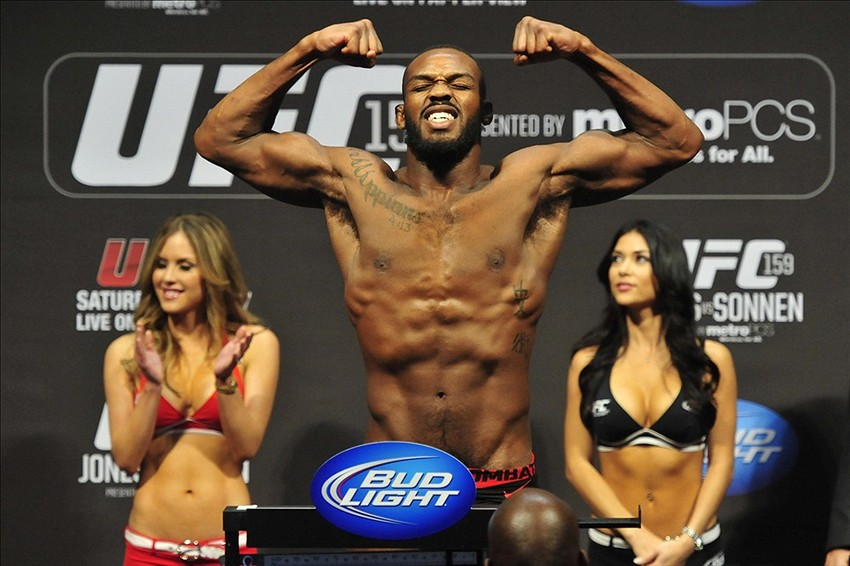 Apr 26, 2013; Newark, NJ, USA; Jon Jones weighs in for his light heavyweight title bout against Chael Sonnen (not pictured) at the Prudential Center. Mandatory Credit: Joe Camporeale-USA TODAY Sports