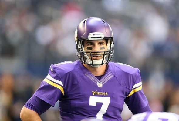 Nov 3, 2013; Arlington, TX, USA; Minnesota Vikings quarterback Christian Ponder (7) prior to the game against the Dallas Cowboys at AT