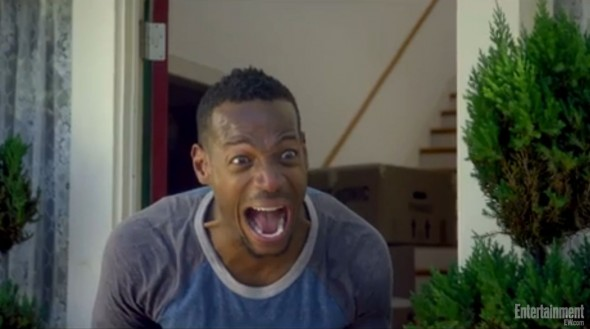 "Malcolm screams after seeing his dog squished by a falling safe in ""A Haunted House 2."" Photo Credit: Entertainment Weekly"