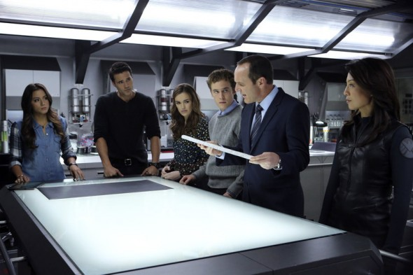 Chloe Bennet, Brett Dalton, Elizabeth Henstridge, Iain De Caestecker, Clark Gregg, and Ming-Na Wen as Skye, Agent Grant Ward, Jemma Simmons, Leo Fitz, Agent Phil Coulson, and Agent Melinda May in Episode 8 of 'Agents of S.H.I.E.L.D.' entitled 'The Well'. Photo Credit: ABC/Danny Feld