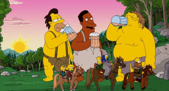 Lenny, Carl, and Barney as the Trolls in 'The Simpsons' Hobbit-inspired couch gag. Photo Credit: Fox