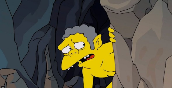 Barkeeper Moe as Gollum in 'The Simpsons' Hobbit-inspired couch gag. Photo Credit: Fox