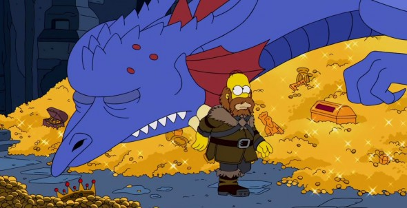 Homer and Mister Burns (as the dragon Smaug) in 'The Simpsons' Hobbit-inspired couch gag. Photo Credit: Fox
