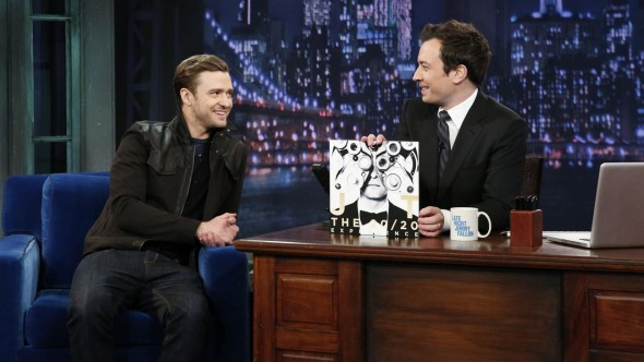 LATE NIGHT WITH JIMMY FALLON -- Episode 799 -- Pictured: (l-r) Justin Timberlake, Jimmy Fallon -- (Photo by: Ira James/NBC)