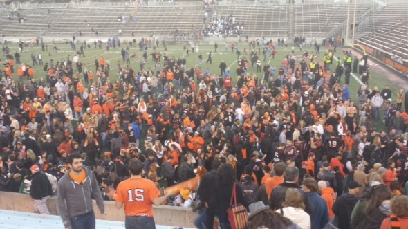 Princeton celebrates after beating Yale 59-23 on November 16, 2013. Photo Credit: Irvin Shuster - Princeton U.