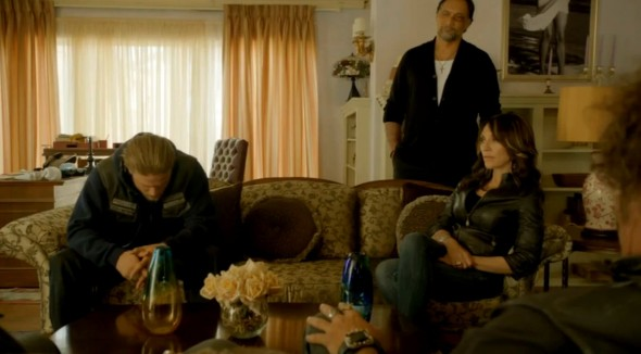 Charlie Hunnam, Katey Sagal, and Jimmy Smits as Jax Teller, Gemma Teller Morrow, and Nero Padilla in Episode 10 of 'Sons of Anarchy' entitled 'Huang Wu'. Photo Credit: FX