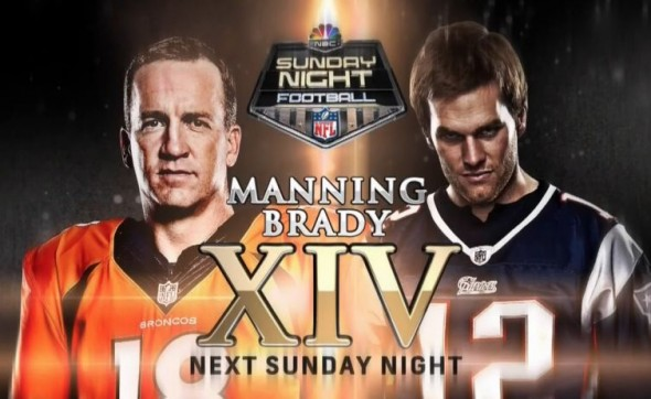 Denver Broncos quarterback Peyton Manning and New England Patriots quarterback Tom Brady in the promo Sunday Night Football. Photo Credit: NBC