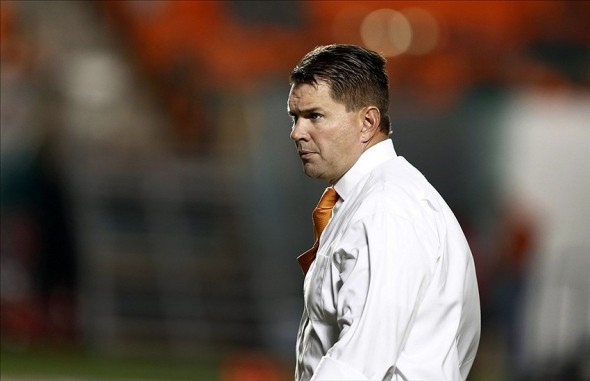 Nov 9, 2013; Miami Gardens, FL, USA; Miami Hurricanes head coach Al Golden before a game against the Virginia Tech Hokies at Sun Life Stadium. Mandatory Credit: Robert Mayer-USA TODAY Sports
