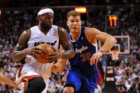 Nov 7, 2013; Miami, FL, USA; Miami Heat small forward LeBron James (6) drives to the basket as Los Angeles Clippers power forward Blake Griffin (32) defends during the second half at American Airlines Arena. Mandatory Credit: Steve Mitchell-USA TODAY Sports
