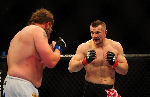 Oct. 29, 2011; Las Vegas, NV, USA; UFC fighter Mirko Cro Cop (right) against Roy Nelson during a heavyweight bout during UFC 137 at the Mandalay Bay event center. Mandatory Credit: Mark J. Rebilas-USA TODAY Sports