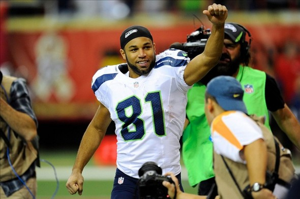 Nov 10, 2013; Atlanta, GA, USA; Seattle Seahawks wide receiver Golden Tate (81) reacts as he leaves the field after defeating the Atlanta Falcons at the Georgia Dome. The Seahawks defeated the Falcons 33-10. Mandatory Credit: Dale Zanine-USA TODAY Sports