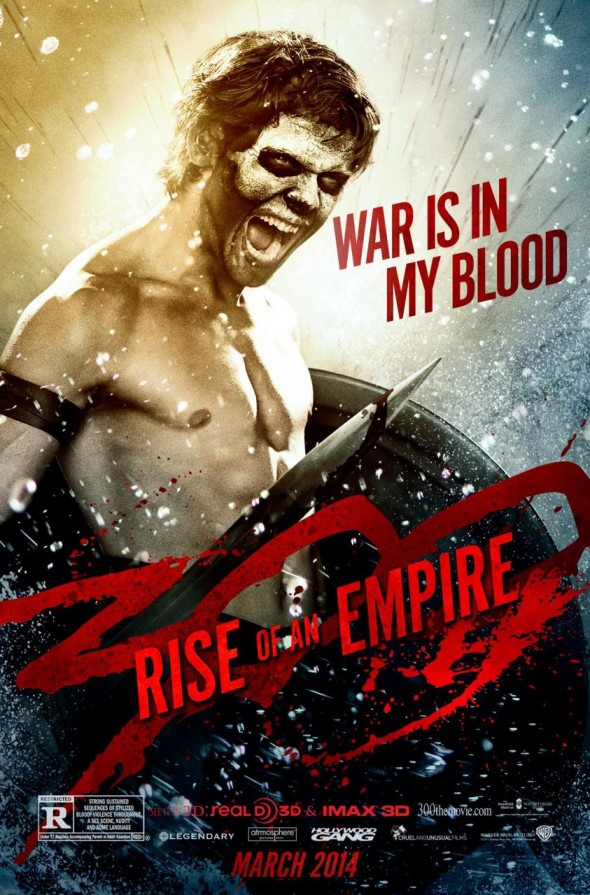 "Jack O'Connell as Calisto in a character poster for the film ""300: Rise of an Empire."" Photo Credit: Warner Bros./Legendary Pictures"
