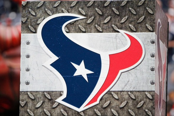 Nov 18, 2012; Houston, TX, USA; Detailed view of a Houston Texans logo on the field before a game against the Jacksonville Jaguars at Reliant Stadium. Mandatory Credit: Brett Davis-USA TODAY Sports