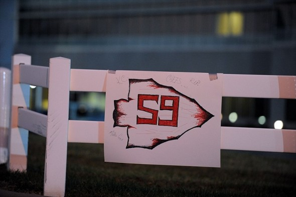 Dec 1, 2012; Kansas City, MO, USA; A sign placed by fans is seen outside the Kansas City Chiefs practice facility the evening that Chiefs player Jovan Belcher (not pictured) committed a murder and suicide. Mandatory Credit: John Rieger-USA TODAY Sports