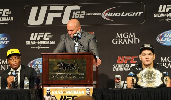 Jul 6, 2013; Las Vegas, NV, USA; Anderson Silva, left, Dana White and Chris Weidman during the post fight press conference at the MGM Grand Garden Arena. Weidman defeated Silva for the Middleweight Chamionship in a TKO in the second round. Mandatory Credit: Jayne Kamin-Oncea-USA TODAY Sports