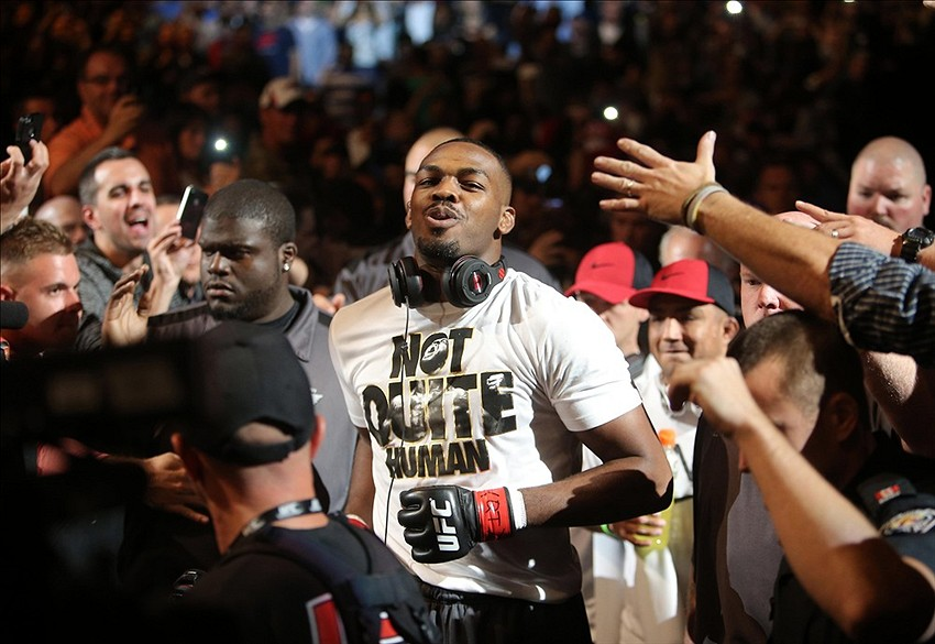 Sep 21, 2013; Toronto, Ontario, CAN; Jon Jones enters the octagon before his fight against Alexander Gustafsson (not pictured) during their light heavyweight championship bout at UFC 165 at the Air Canada Centre. Mandatory Credit: Tom Szczerbowski-USA TODAY Sports