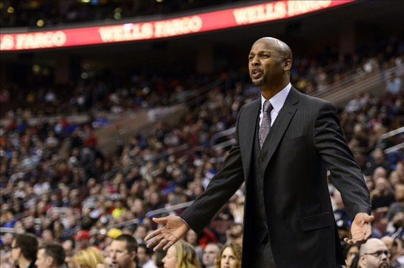 Dec 7, 2013; Philadelphia, PA, USA; Denver Nuggets head coach Brian Shaw during the fourth quarter against the Philadelphia 76ers at the Wells Fargo Center. The Nuggets defeated the Sixers 103-92. Mandatory Credit: Howard Smith-USA TODAY Sports