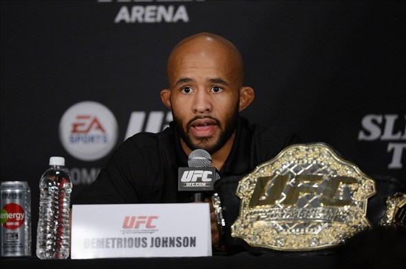 December 14, 2013; Sacramento, CA, USA; Demetrious Johnson addresses the media during the press conference after UFC on FOX 9 at Sleep Train Arena. Mandatory Credit: Kyle Terada-USA TODAY Sports