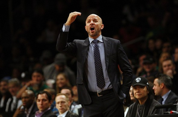 Dec 16, 2013; Brooklyn, NY, USA; Brooklyn Nets head coach Jason Kidd react during first half of NBA game against the Philadelphia 76ers at Barclays Center. Mandatory Credit: Noah K. Murray-USA TODAY Sports