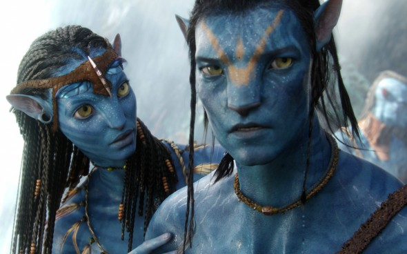 "Sam Worthington and Zoe Saldana as Jake Sulley and Neytiri in the film ""Avatar"". Photo Credit: Fox"