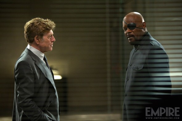 "Robert Redford and Samuel L. Jackson as Alexander Pierce and Nick Fury in ""Captain America: The Winter Soldier."" Photo Credit: Empire Magazine"