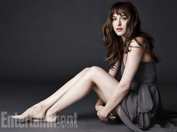 Dakota Johnson as Anastasia Steele in the film 'Fifty Shades of Grey'. Photo Credit: Entertainment Weekly