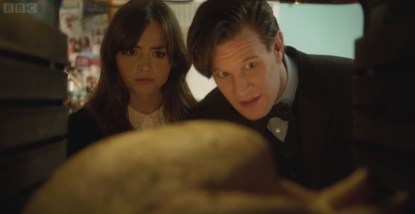 "The Doctor (Matt Smith) and Clara (Jenna Coleman) discuss how to fox their Christmas turkey in the ""Doctor Who"" Christmas Special entitled ""The Time of the Doctor."" Photo Credit: BBC"