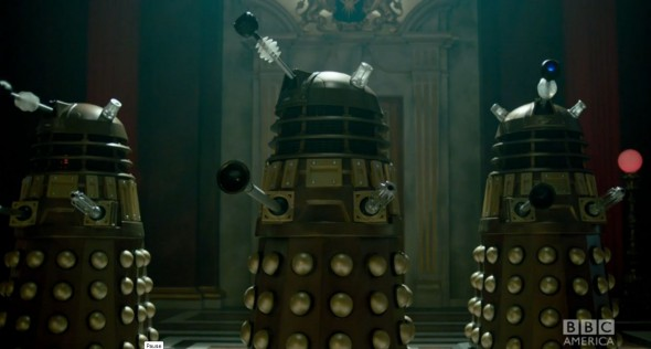"The Doctor's most notorious enemies, The Daleks, from the ""Doctor Who"" Christmas Special entitled ""The Time of the Doctor."" Photo Credit: BBC America"