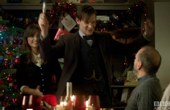 "Matt Smith and Jenna Coleman as The Eleventh Doctor and Clara Oswald in the ""Doctor Who"" Christmas Special entitled ""The Time of the Doctor."" Photo Credit: BBC America"