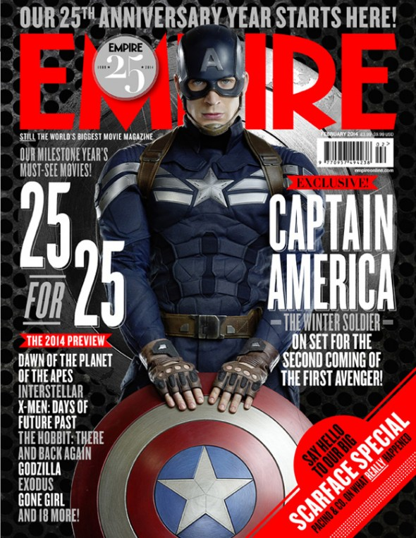 Captain America on the cover of the February issue of Empire Magazine. Photo Credit: Empire Magazine