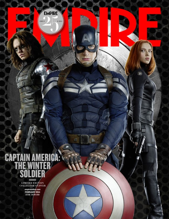 Captain America, The Winter Soldier, and Black Widow on the Cover of the Limited Edition of the February issue of Empire Magazine. Photo Credit: Empire Magazine