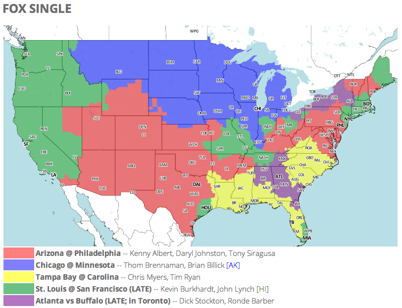Nfl Tv Schedule And Coverage Map Week 13 Fansided