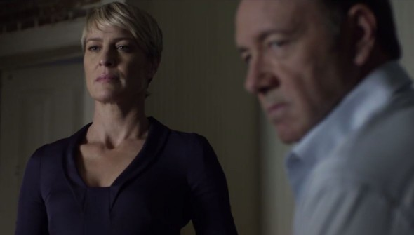 "Kevin Spacey and Robin Wright as Frank and Claire Underwood in Season 2 of ""House of Cards."" Photo Credit: Netflix"