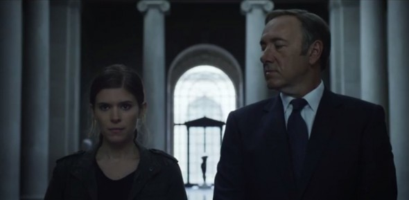 "Kevin Spacey and Kate Mara as Frank Underwood and Zoe Barnes in Season 2 of ""House of Cards. Photo Credit: Netflix"