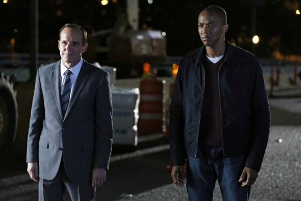 "Clark Gregg and J. August Richards as Agent Phil Coulson and Mike Peterson in the Winter Finale Episode of ""Marvel's Agents of S.H.I.E.L.D."" entitled ""The Bridge."" Photo Credit: ABC/Justin Lubin"