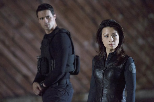 "Brett Dalton and Mingg-Na Wen as Agents Grant Ward and Melinda May in the Winter Finale Episode of ""Marvel's Agents of S.H.I.E.L.D."" entitled ""The Bridge."" Photo Credit: ABC/Justin Lubin"