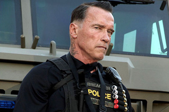 "Arnold Schwarzenegger as John ""Breacher"" Wharton in the film ""Sabotage."" Photo Credit: Open Road Films"