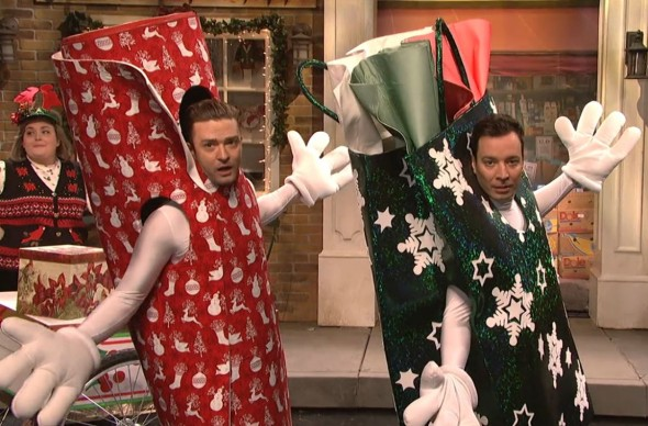 "Justin Timberlake and Jimmy Fallon in the Cold Opening to Saturday Night Live entitled ""Wrappinville."" Photo Credit: NBC"