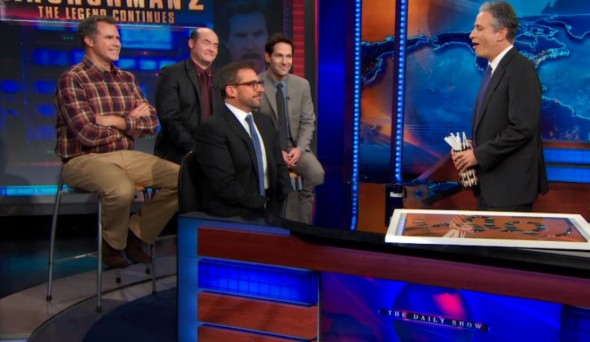 "The cast of 'Anchorman 2: The Legend Continues' appears on ""The Daily Show with Jon Stewart."" Photo Credit: Comedy Central"