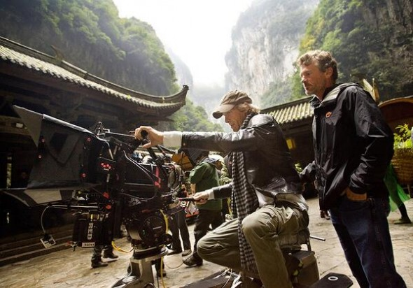 Director Michael Bay filming 'Transformers: Age of Extinction' on location in China. Photo Credit: Twitter