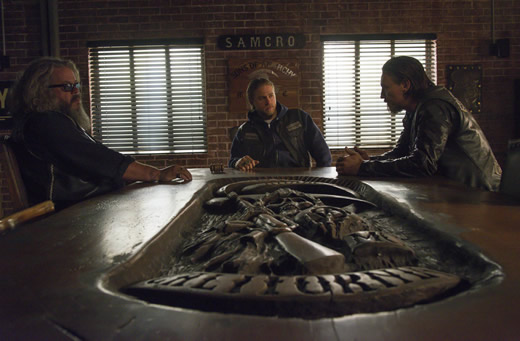 "Mark Boone Junior, Charlie Hunnam, and Tommy Flanagan as Bobby Elvis, Jax Teller, and Chilbs Telford in Season 6 Episode 13 of ""Sons of Anarchy"" entitled ""A Mother's Work."" Photo Credit: FX"