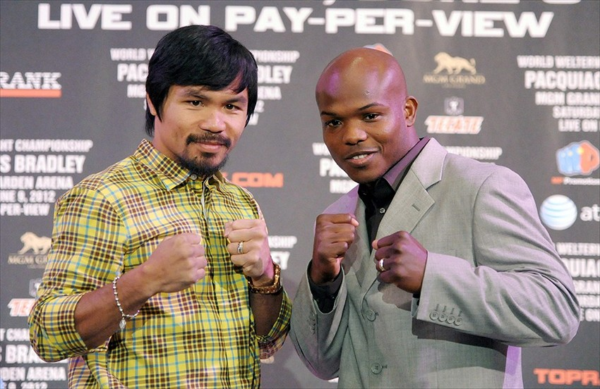 21 2012 beverly hills ca usa manny pacquiao left and timothy bradley    Manny Pacquiao Vs Timothy Bradley April 12
