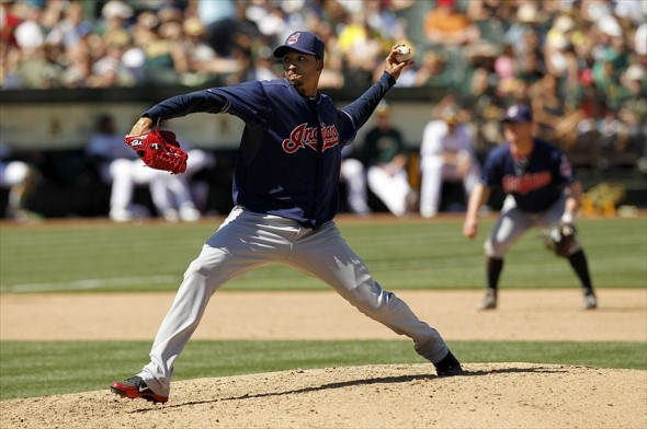 April 22, 2012; Oakland, CA, USA; Cleveland Indians pitcher Rafael Perez (53) prepares to deliver a pitch against the Oakland Athletics in the seventh inning at O.co Coliseum. The Athletics defeated the Indians 5-1. Mandatory Credit: Cary Edmondson-USA TODAY Sports