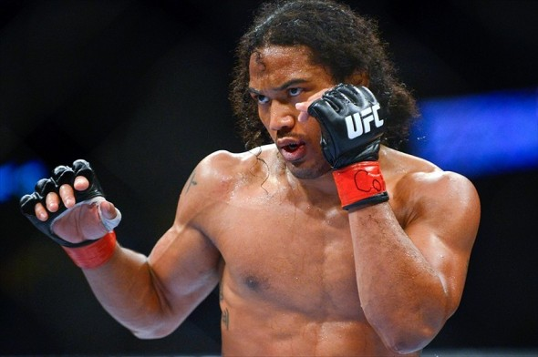 August 11, 2012; Denver, CO, USA; Benson Henderson fights Frankie Edgar (not pictured) during UFC 150 at the Pepsi Center. Mandatory Credit: Ron Chenoy-USA TODAY Sports