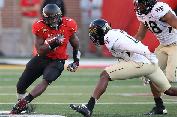 October 6, 2012; College Park, MD, USA; Maryland Terrapins running back Wes Brown (4) gains yardage against the Wake Forest Demon Deacons at Byrd Stadium. Maryland beat Wake Forest 19-14. Mandatory Credit: Mitch Stringer-USA TODAY Sports