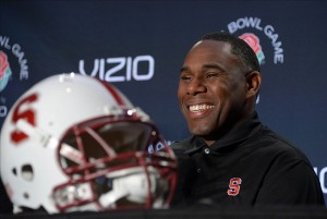 Dec 27, 2012; Los Angeles, CA, USA; Stanford Cardinal defensive coordinator Derek Mason at press conference for the 2013 Rose Bowl at the L.A. Hotel Downtown. Mandatory Credit: Kirby Lee/Image of Sport-USA TODAY Sports