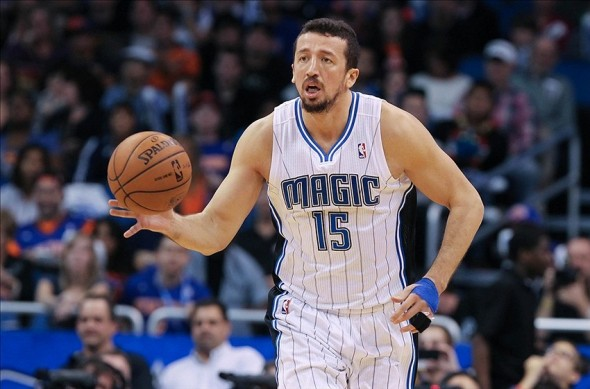 January 5, 2013; Orlando FL, USA; Orlando Magic small forward Hedo Turkoglu (15) drives to the basket against the New York Knicks during the second half at Amway Center. New York Knicks defeated the Orlando Magic 114-106. Mandatory Credit: Kim Klement-USA TODAY Sports