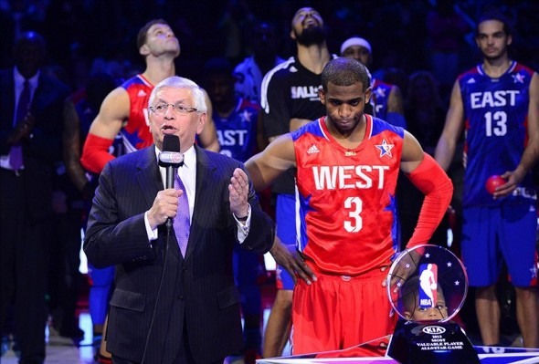 Feb 17, 2013; Houston, TX, USA; NBA commissioner David Stern (left) speaks before awarding Western Conference guard Chris Paul (3) of the Los Angeles Clippers with the game MVP trophy after the 2013 NBA all star game at the Toyota Center. West won 143-138. Mandatory Credit: Bob Donnan-USA TODAY Sports