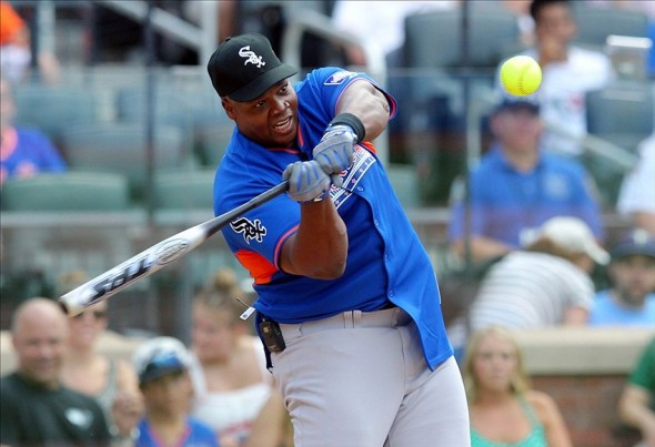 Jul 14, 2013; Flushing, NY, USA; MLB former player Frank Thomas hits a home run during the 2013 All Star Legends and Celebrity softball game at Citi Field. Mandatory Credit: Brad Penner-USA TODAY Sports